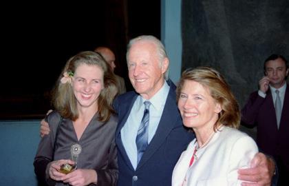 Хейердал с третьей женой Жаклин Бир и дочерью Хелен
