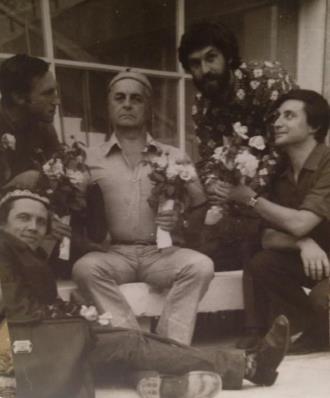 Валерий Золотухин, Владимир Высоцкий, Юрий Любимов, Борис Хмельницкий и Вениамин Смехов