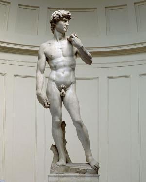 Самый известный образ Давида в искусстве - статуя Микеланджело (1504). Три с половиной года скульптор вырезал пятиметровое изваяние из цельной глыбы мрамора.