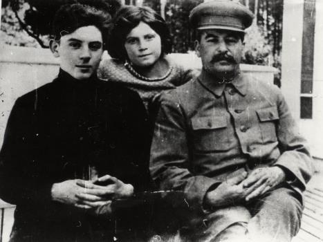 Василий Сталин с Сестрой Светланой и отцом