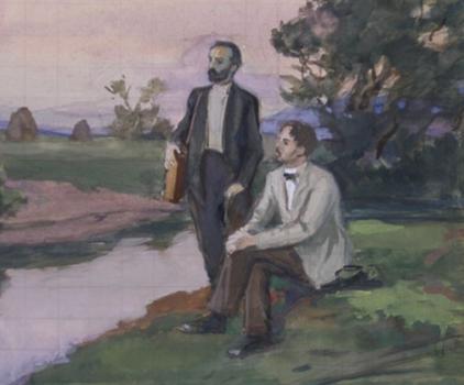 Исаак Левитан с Михаилом Чеховым - братом Антона Чехова