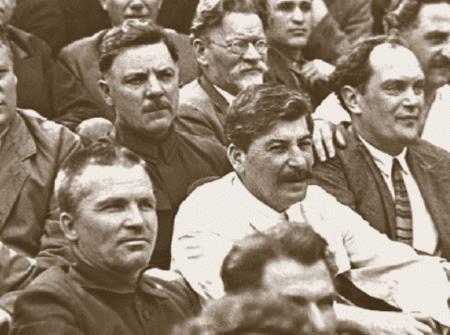 С.М. Киров, И.В. Сталин, В.В. Куйбышев, К.Е. Ворошилов, М.И. Калинин, Г.К. Орджоникидзе. 1933 г.