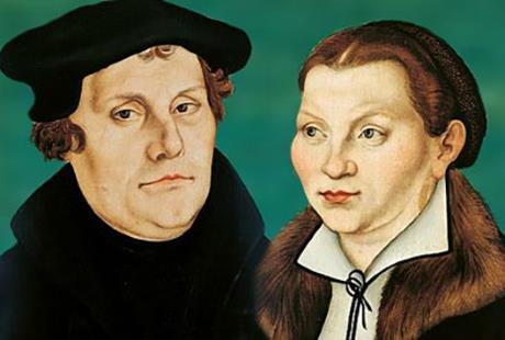 Мартин Лютер и жена Катарина