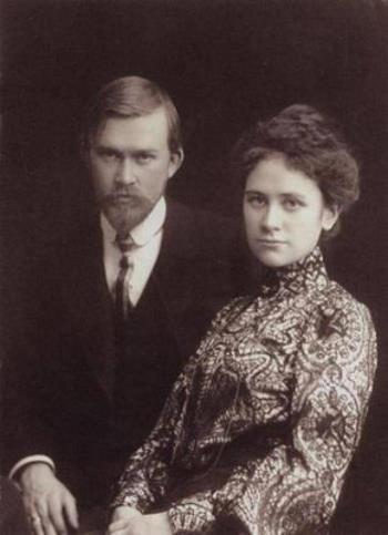 Борис Кустодиев с женой Юлией Прошинской в молодости