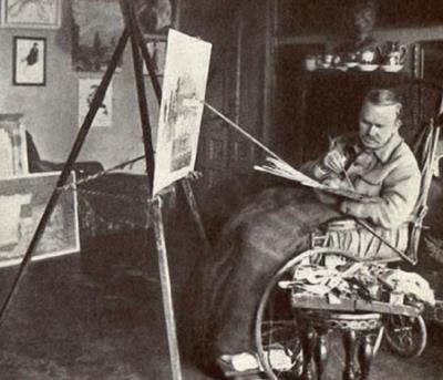 Одна из последних фотографий Кустодиева в мастерской