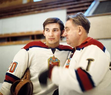 Владислав Третьяк и тренер Анатолий Тарасов