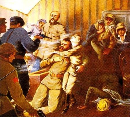 Убийство Романовых. После расстрела тела разрубали топорами на части, обливали серной кислотой и поджигали.