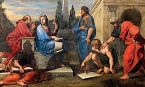 Греческие философы у Аспазии. Сократ (слева) - зрелый мужчина с сединой и лысиной.