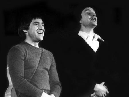 Вениамин Смехов в молодости на сцене театра с Высоцким