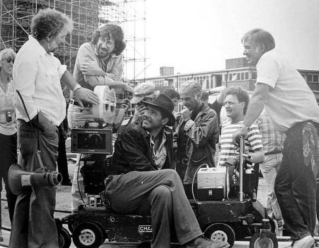 Стивен Спилберг на съемочной площадке Индианы Джонса