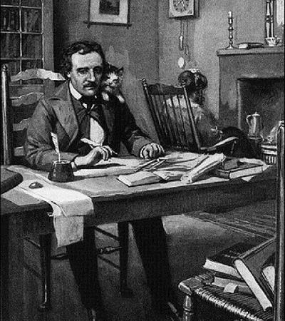 Писатель Эдгар По в работе