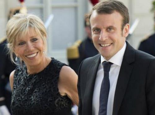Эммануэль Макрон с супругой Бриджит Троньё